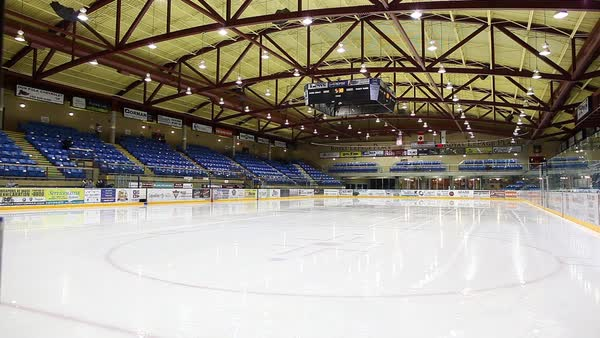Wide shot of an ice rink in a sports arena Royalty-free stock video