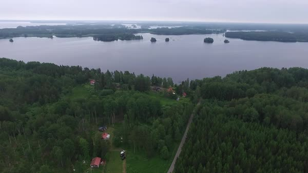 Aerial shot of a lakeside in Sweden Royalty-free stock video
