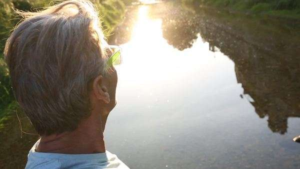 Close-up shot of a man near a canal Royalty-free stock video