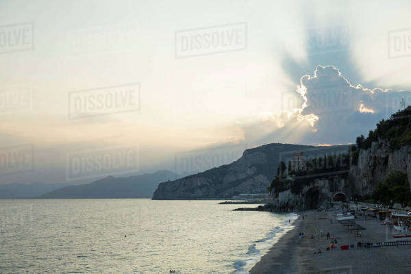 Beach at sunset in Liguria, Italy Royalty-free stock photo
