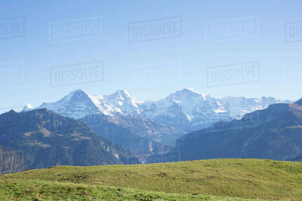 Snow-covered mountain peaks in Switzerland Royalty-free stock photo