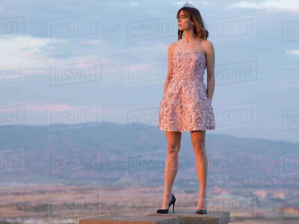 Model wearing a pink dress Royalty-free stock photo