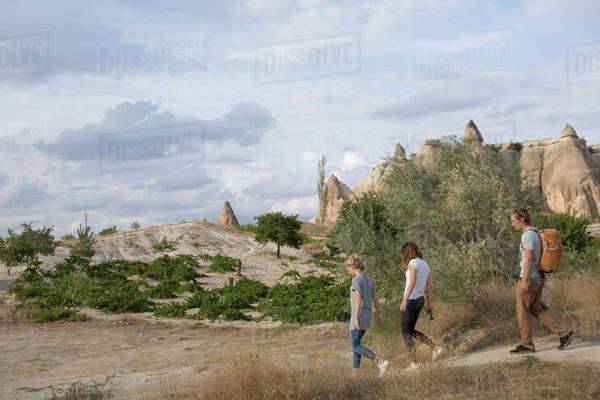 People hiking in Cappadocia, Turkey Royalty-free stock photo
