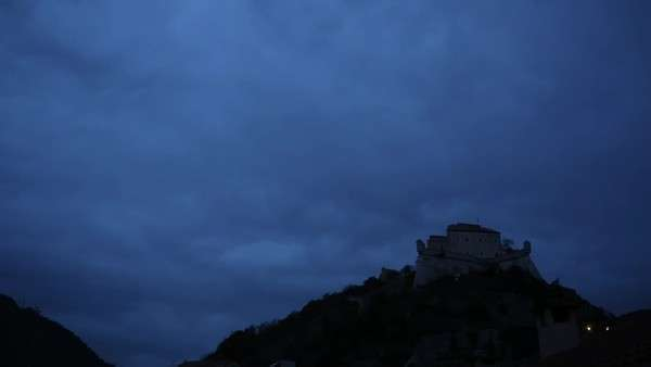 Timelapse view of castle at twilight, lights come on Royalty-free stock video
