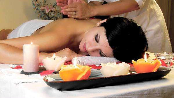 Happy Woman Receiving Thai Massage Royalty Free Stock Video