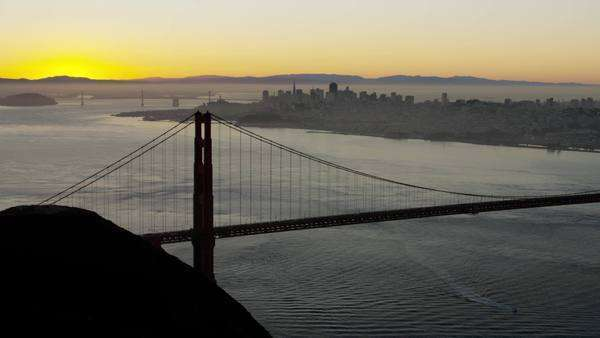 Aerial sunrise Golden Gate Bridge San Francisco Royalty-free stock video