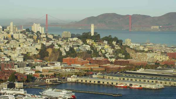 Aerial view San Francisco California Bridge Port Marin Headland Royalty-free stock video