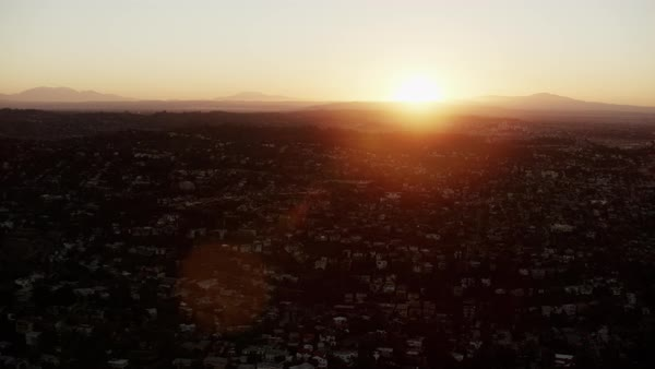 Sunrise aerial view over urban areas of Los Angeles USA Royalty-free stock video