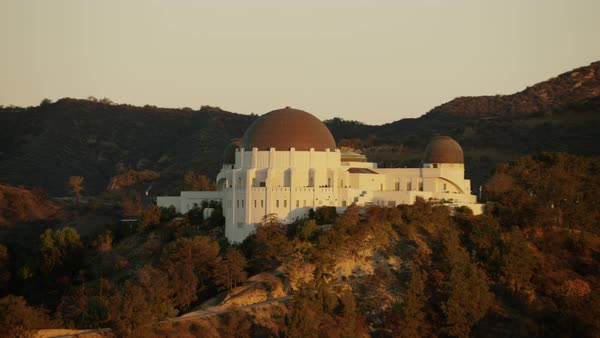 Aerial view of Griffith Park Observatory Los Angeles at sunrise Royalty-free stock video