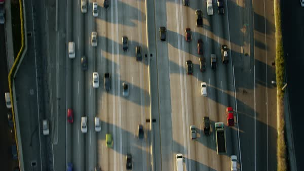 Aerial vertical view of traffic and commuters on Los Angeles freeways Royalty-free stock video