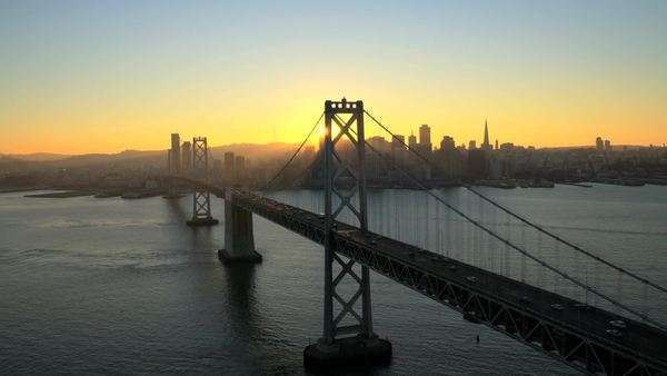 Aerial sunset view Oakland Bay Bridge, San Francisco, USA Royalty-free stock video