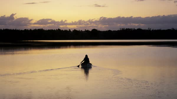Silhouette of active Caucasian American seniors ride in the boat on the lake during beautiful sunset  Royalty-free stock video