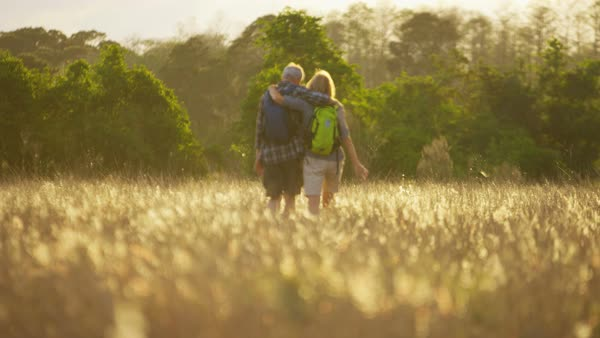 Fit active Caucasian European male and female seniors walking together in the countryside outdoors Royalty-free stock video
