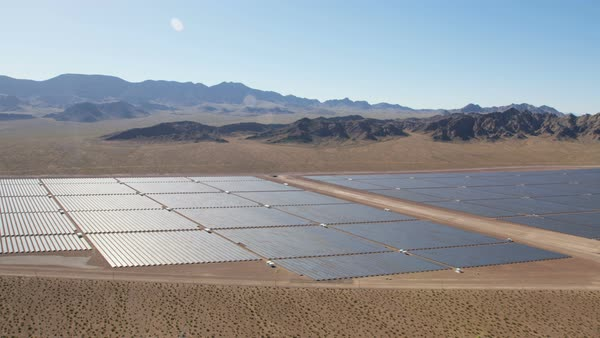 Aerial desert view Boulder Solar Project solar panels harvesting clean energy from the sun Las Vegas Nevada USA Royalty-free stock video