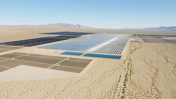 Aerial desert view Photovoltaic solar panels harvesting clean energy from the sun natural alternative power Las Vegas Nevada USA Royalty-free stock video