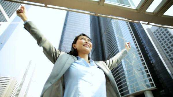 Asian Chinese Female Financial Broker Celebrating Business Achievements Royalty-free stock video