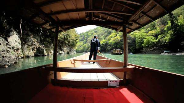 Boatman Katsura River tourist people travel Arashiyama Kyoto Japan Royalty-free stock video