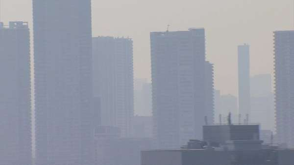 Aerial close up Tokyo city smog air pollution climate Japan Asia Royalty-free stock video
