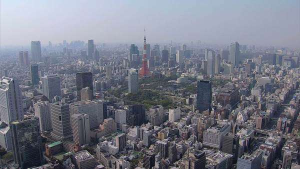 Aerial Tokyo Tower Dentsu  skyscraper Minato Business district Japan Royalty-free stock video