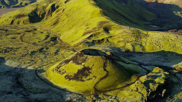 Aerial volcanic highland green mountainous wilderness hiking Iceland Royalty-free stock video