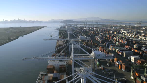 San Francisco - January 2014: Aerial view Container Docks Oakland Estuary Global cargo Port of Oakland San Francisco North America Royalty-free stock video