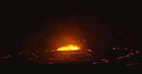 Static wide shot of molten lava from a volcano Royalty-free stock video