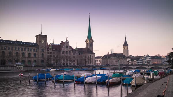 Evening Zurich Scape Boat Parking River Side View Timelapse Switzerland Royalty-free stock video