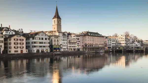 Sun Zurich St. Peter Walking Bridge Side Front View Timelapse Switzerland Royalty-free stock video