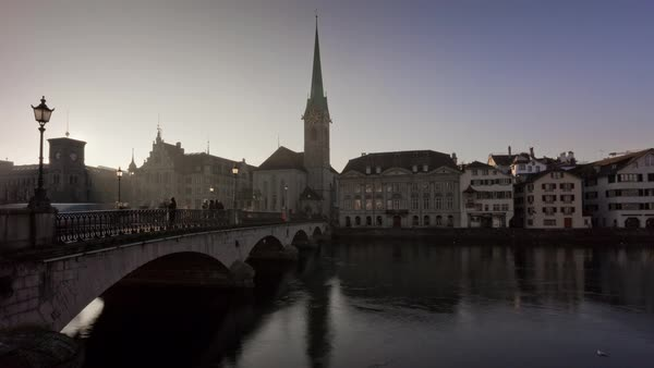 Zurich Fraumunster Church Walking Bridge View Timelapse Switzerland Royalty-free stock video
