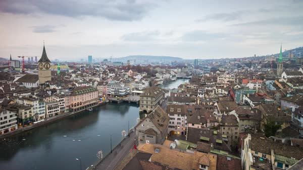 Sunset Grossmunster Zurich Cityscape Limmat River Timelapse Switzerland Royalty-free stock video