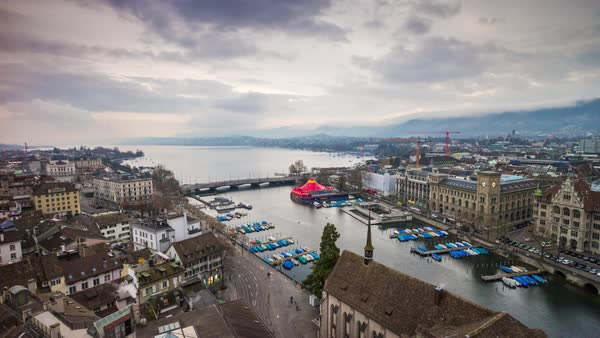 Grossmunster View Point Zurich Cityscape Lake View Timelapse Switzerland Royalty-free stock video