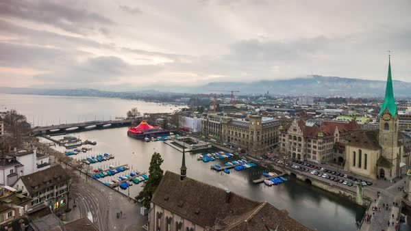Zurich Grossmunster View Point Cityscape Lake View Timelapse Switzerland Royalty-free stock video