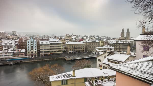 Zurich Day Limmatquai Riverside Grossmunster View Timelapse Switzerland Royalty-free stock video