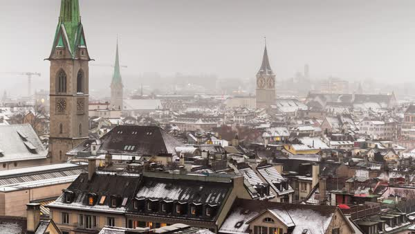 Winter Day Zurich View Point Cityscape Rooftops Timelapse Switzerland Royalty-free stock video