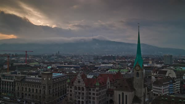 Zurich Fraumunster Church Grossmunster View Point Timelapse Switzerland Royalty-free stock video