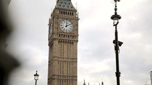 LONDON, UNITED KINGDOM – February 22, 2014: Westminster at Parliament Square in London is a busy and Popular tourist destination. footage of the familiar London landmark of Big Ben. Royalty-free stock video