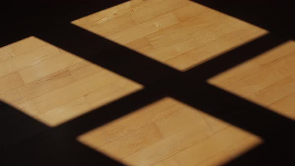 Time-lapse of shadows moving on a hardwood floor.  Royalty-free stock video