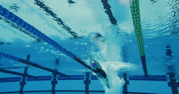 Underwater Shot Of Professional Swimmer Swimming Dolphing Kick To The Camera Royalty-free stock video