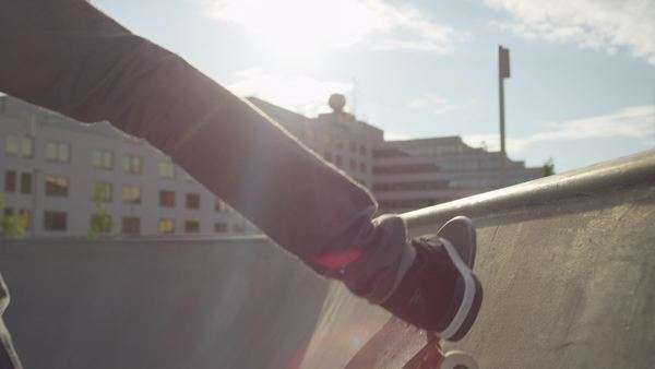 Slow motion close-up of Riding a skate ramp Royalty-free stock video
