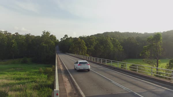 AERIAL CLOSE UP, MOVING FORWARD AND UP: White car driving across bridge over green Australian swamp on beautiful sunny morning. Vast green grassy bog wetland in beautiful lush eucalyptus tree forest Royalty-free stock video