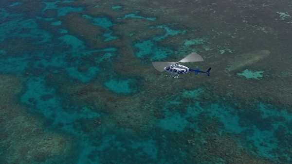 Aerial view of a helicopter flying over the coral reef water surface Rights-managed stock video
