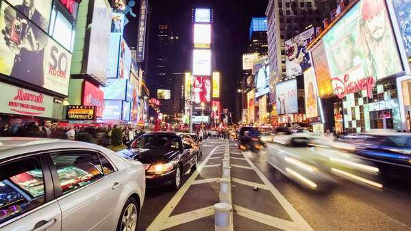 New York's Time Square at night, timelapse Royalty-free stock video