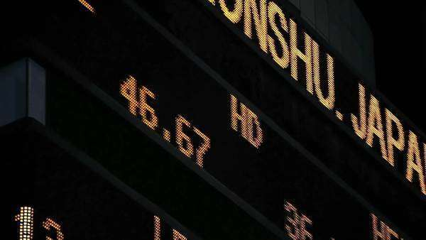 An electronic stock exchange ticker board in Times Square, New York Royalty-free stock video