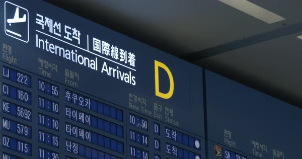 International arrivals displayed on flight schedule in several languages Royalty-free stock video