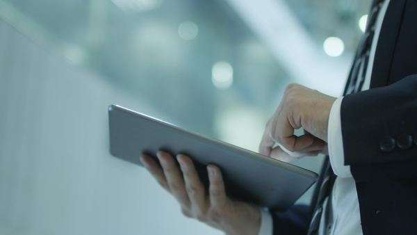 Businessman working on tablet in office Royalty-free stock video