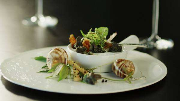 Serving delicious baked escargots in luxury restaurant Royalty-free stock video