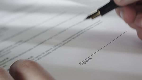 Signing business contract. Royalty-free stock video