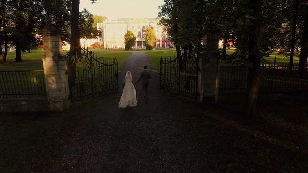 Aerial drone shot of a groom and bride moving towards mansion in a park. Royalty-free stock video