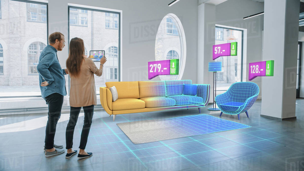 Decorating Apartment Lovely Young Couple Use Digital Tablet With Augmented Reality Interior Design Software To Choose 3d Furniture For Their Home Furniture From Online Shop With Prices Stock Photo Dissolve