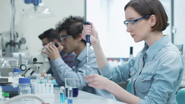 Group of students working in laboratory of chemistry classroom Royalty-free stock video